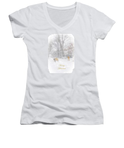 Merry Christmas Women's V-Neck T-Shirt (Junior Cut) by Mary Timman