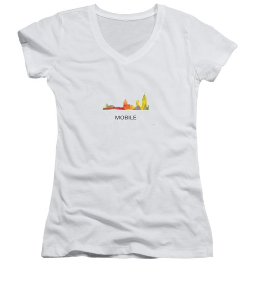 Mobile Alabama Skyline Women's V-Neck T-Shirt (Junior Cut) by Marlene Watson