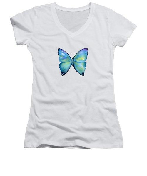 2 Morpho Aega Butterfly Women's V-Neck