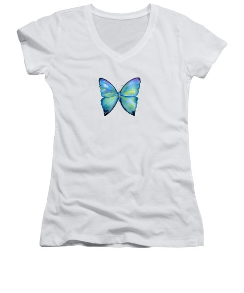 2 Morpho Aega Butterfly Women's V-Neck (Athletic Fit)