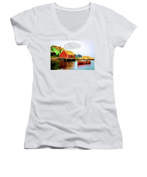 Peggy's Cove Women's V-Neck T-Shirt (Junior Cut) by Andre Faubert