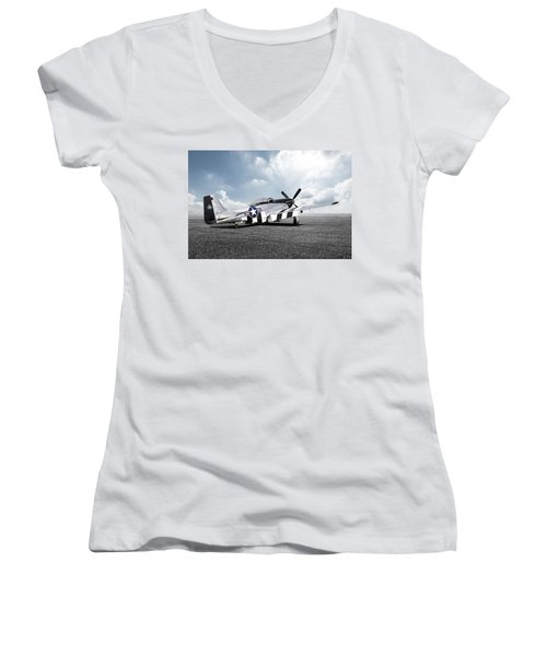 Women's V-Neck T-Shirt (Junior Cut) featuring the digital art Quick Silver P-51 by Peter Chilelli