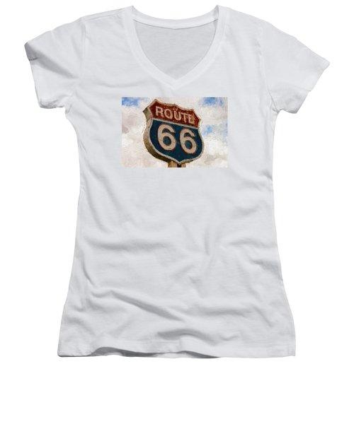 Route 66  Women's V-Neck T-Shirt (Junior Cut) by Louis Ferreira