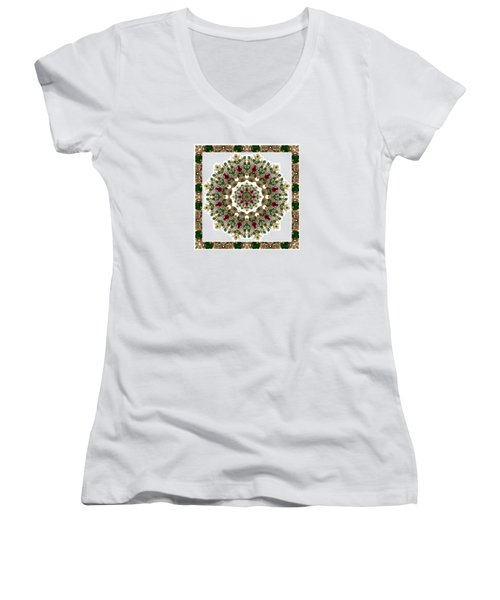 Ruby And Emerald Kaleidoscope Women's V-Neck