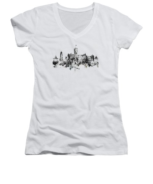 Rutherglen Scotland Skyline Women's V-Neck T-Shirt (Junior Cut) by Marlene Watson