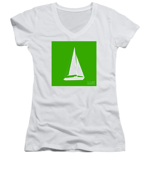 Sailboat In Green And White Women's V-Neck (Athletic Fit)