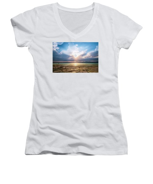 Women's V-Neck T-Shirt featuring the photograph Sirmione by Traven Milovich