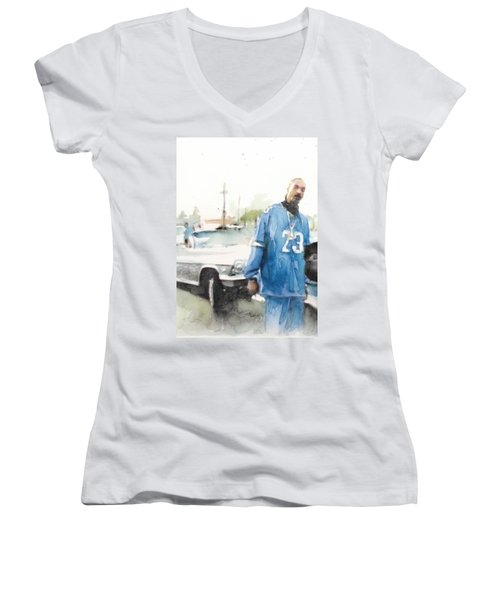 Snoop Detail Women's V-Neck T-Shirt (Junior Cut) by Jani Heinonen
