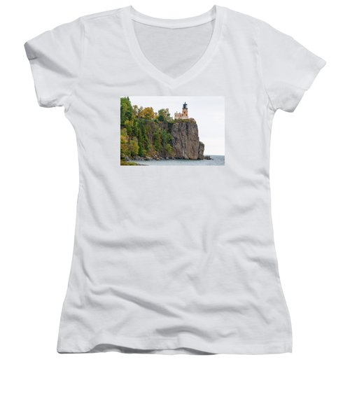 Split Rock Lighthouse Women's V-Neck T-Shirt (Junior Cut) by Steve Stuller
