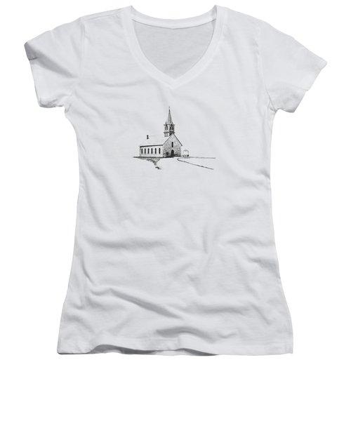 St. Olaf Lutheran Church Women's V-Neck T-Shirt (Junior Cut) by David and Carol Kelly