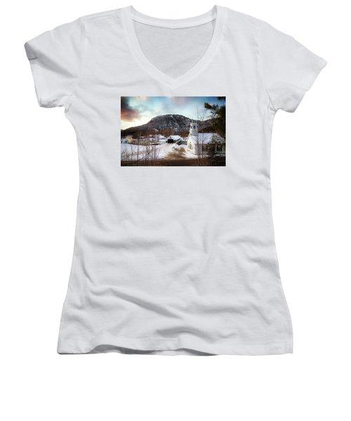 Women's V-Neck T-Shirt (Junior Cut) featuring the photograph Stark New Hampshire by Robert Clifford