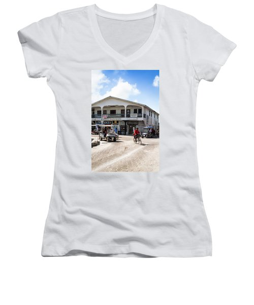 Street Scene Of San Pedro Women's V-Neck T-Shirt (Junior Cut) by Lawrence Burry