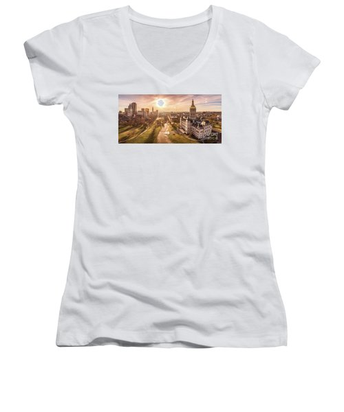 Sunrise In Hartford Connecticut Women's V-Neck T-Shirt (Junior Cut) by Petr Hejl