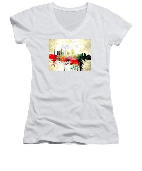 Tokyo Women's V-Neck T-Shirt (Junior Cut) by Daniel Janda