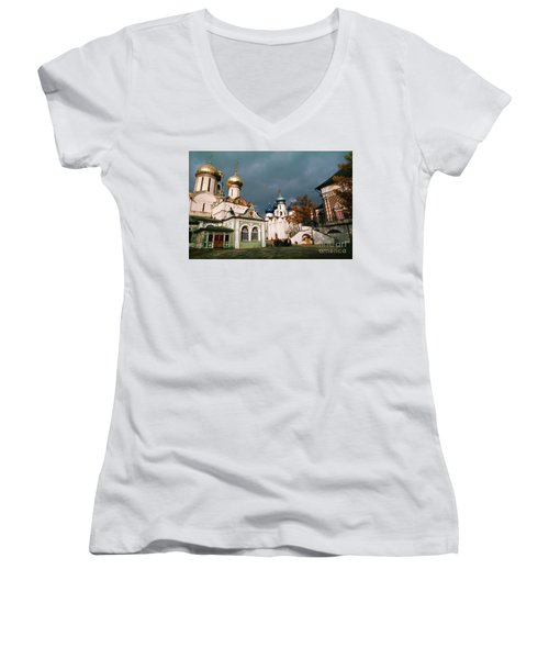 Trinity Lavra Of St. Sergius Monastery Sergiev Posad Women's V-Neck T-Shirt (Junior Cut) by Wernher Krutein