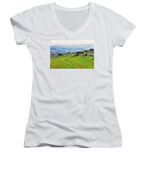 Tuscany Landscape Women's V-Neck (Athletic Fit)