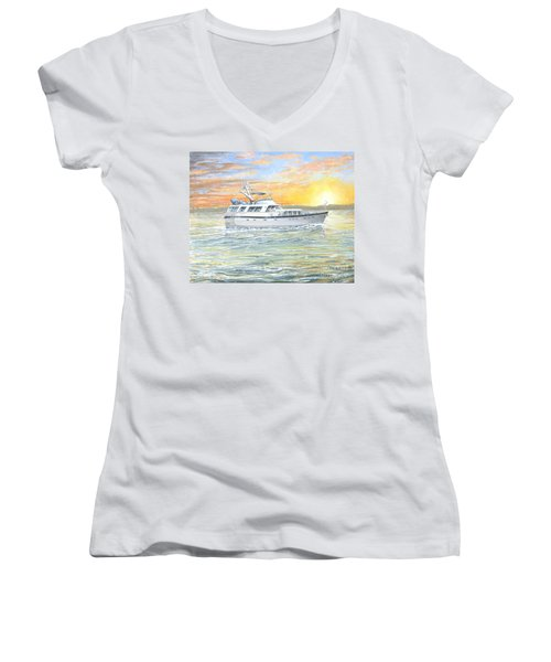 Women's V-Neck T-Shirt (Junior Cut) featuring the painting Untitled by Bob George