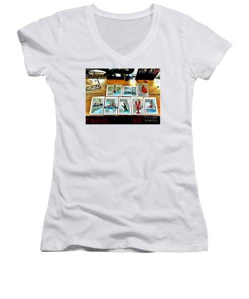 Vintage Map Art Women's V-Neck T-Shirt (Junior Cut) by Scott D Van Osdol