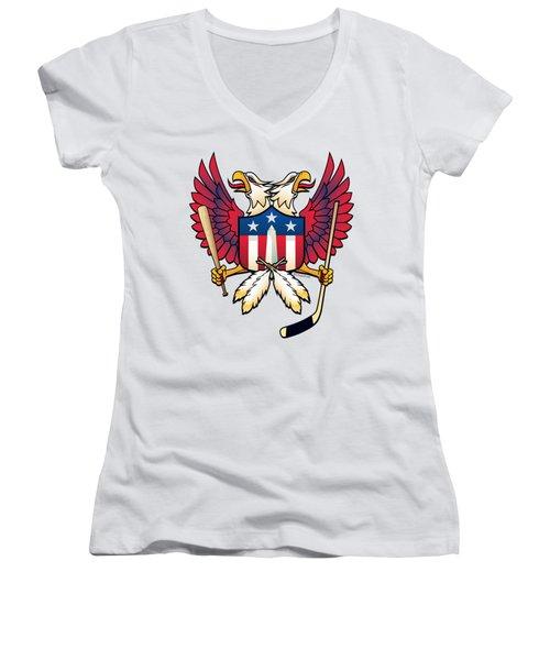 Washington Dc Double Eagle Sports Fan Crest Women's V-Neck (Athletic Fit)