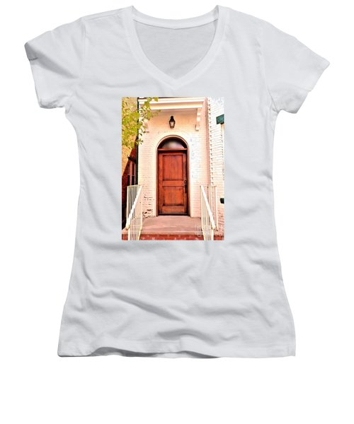 Women's V-Neck T-Shirt (Junior Cut) featuring the photograph Welcome Home by Becky Lupe