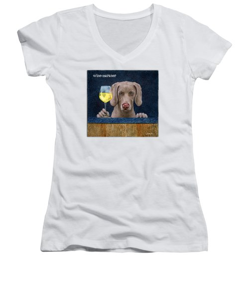 Women's V-Neck T-Shirt (Junior Cut) featuring the painting Wine-maraner by Will Bullas