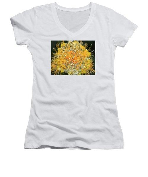 Yellow Dahlia Women's V-Neck T-Shirt (Junior Cut) by Elvira Ladocki