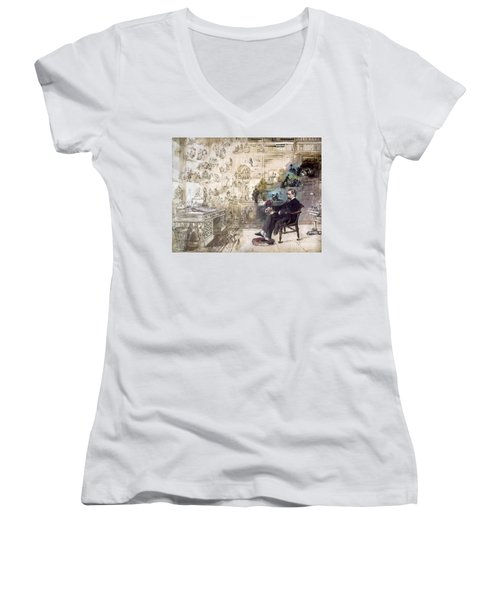 Charles Dickens (1812-1870) Women's V-Neck T-Shirt (Junior Cut) by Granger