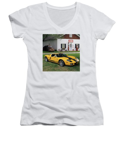Women's V-Neck T-Shirt (Junior Cut) featuring the photograph 2005 Ford Gt by Christopher McKenzie