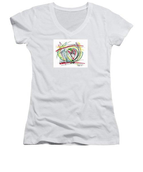 2010 Abstract Drawing Eighteen Women's V-Neck T-Shirt (Junior Cut) by Lynne Taetzsch