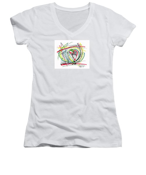 2010 Abstract Drawing Eighteen Women's V-Neck (Athletic Fit)