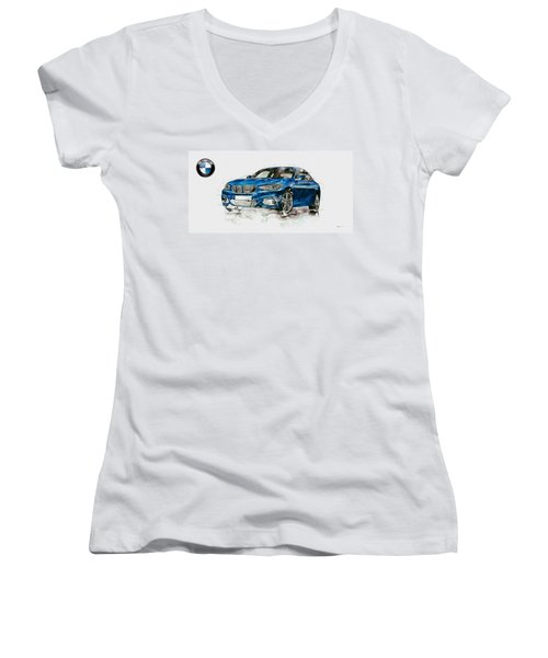 2014 B M W 2 Series Coupe With 3d Badge Women's V-Neck T-Shirt (Junior Cut) by Serge Averbukh