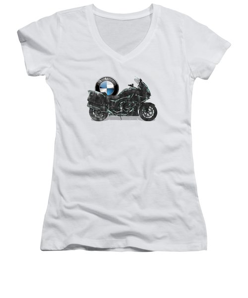 Women's V-Neck T-Shirt (Junior Cut) featuring the digital art 2016 Bmw-k1600gt Motorcycle With 3d Badge Over Vintage Blueprint  by Serge Averbukh
