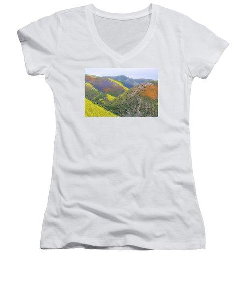 2017 California Super Bloom Women's V-Neck T-Shirt (Junior Cut) by Marc Crumpler
