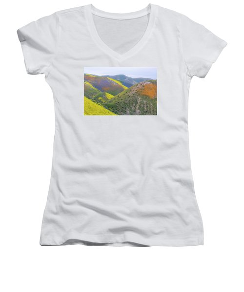 2017 California Super Bloom Women's V-Neck T-Shirt