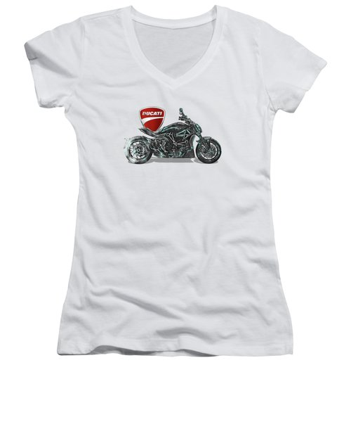 Women's V-Neck T-Shirt (Junior Cut) featuring the digital art 2017 Ducati Xdiavel-s Motorcycle With 3d Badge Over Vintage Blueprint  by Serge Averbukh