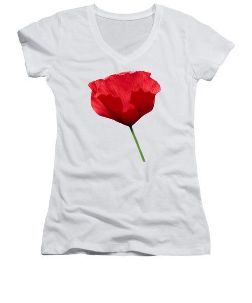 Women's V-Neck T-Shirt (Junior Cut) featuring the photograph Poppy Flower by George Atsametakis