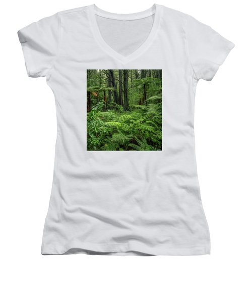 Women's V-Neck T-Shirt (Junior Cut) featuring the photograph Jungle by Les Cunliffe