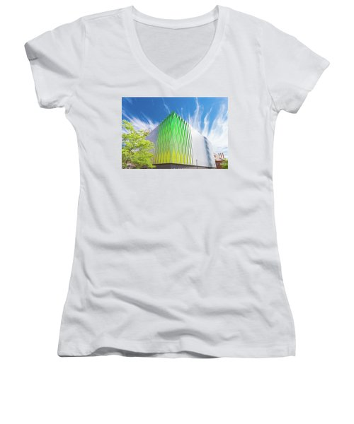 Women's V-Neck T-Shirt (Junior Cut) featuring the photograph Modern Architecture by Hans Engbers