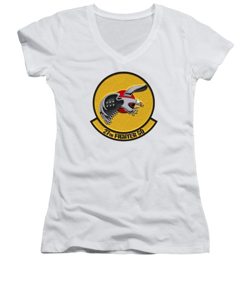 Women's V-Neck T-Shirt (Junior Cut) featuring the digital art 27th Fighter Squadron - 27 Fs Patch Over White Leather by Serge Averbukh
