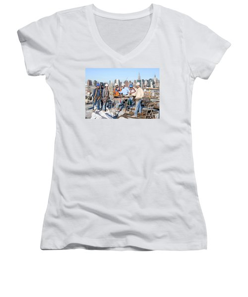 27th Street Lic 4 Women's V-Neck T-Shirt (Junior Cut) by Steve Sahm