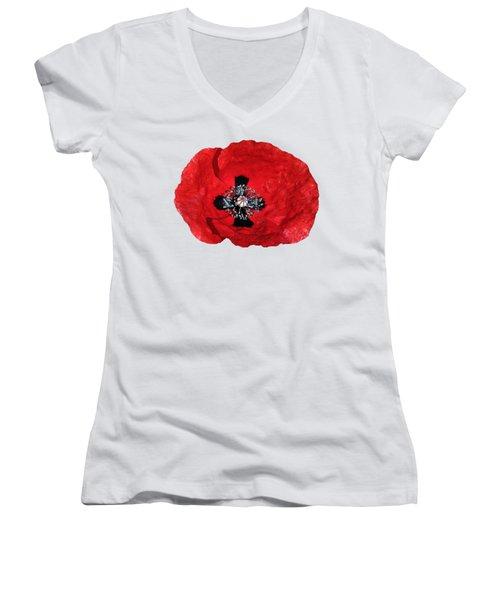 Poppy Flower Women's V-Neck