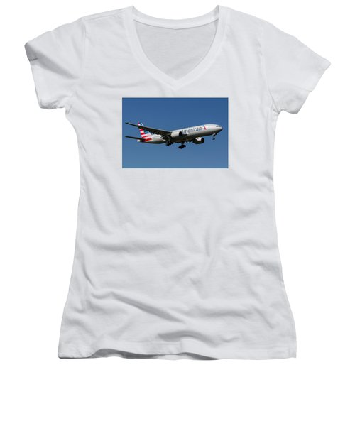 American Airlines Boeing 777 Women's V-Neck T-Shirt