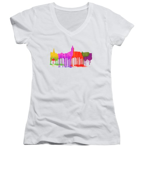 Annapolis Maryland Skyline      Women's V-Neck T-Shirt (Junior Cut) by Marlene Watson