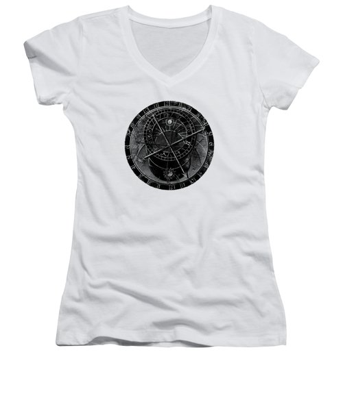 Astronomical Clock Women's V-Neck (Athletic Fit)