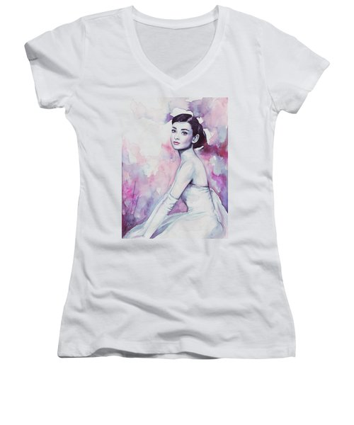 Audrey Hepburn Portrait Women's V-Neck (Athletic Fit)