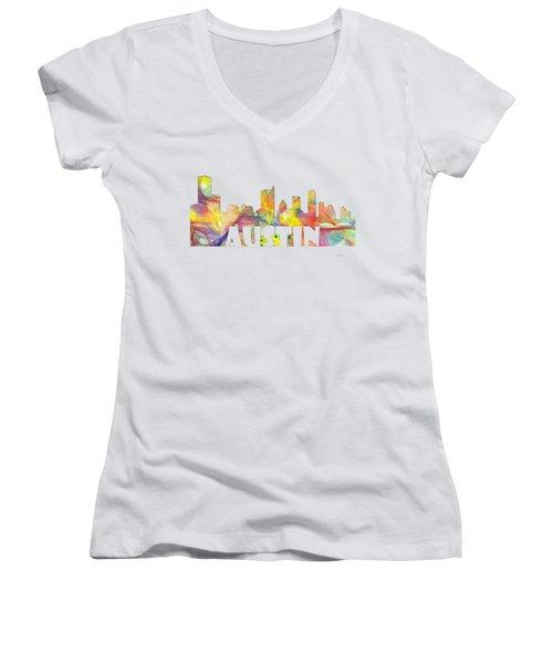 Austin Texas Skyline Women's V-Neck (Athletic Fit)
