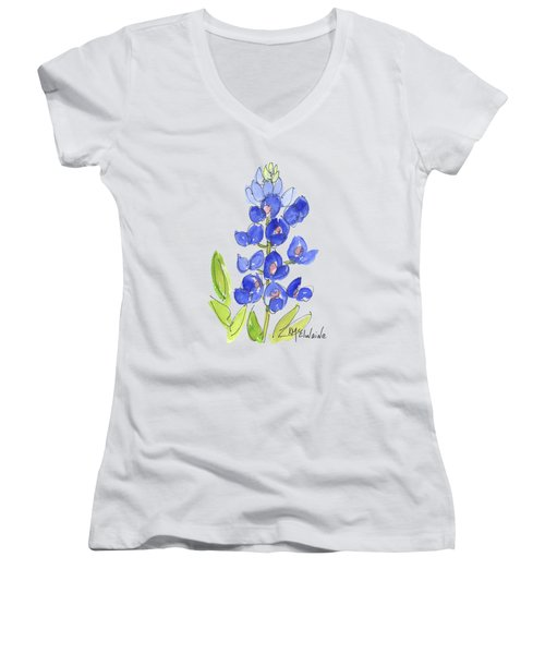 Bluebonnet Women's V-Neck T-Shirt (Junior Cut) by Kathleen McElwaine