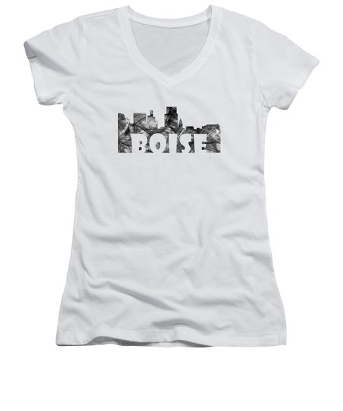 Boise Idaho Skyline Women's V-Neck T-Shirt (Junior Cut) by Marlene Watson