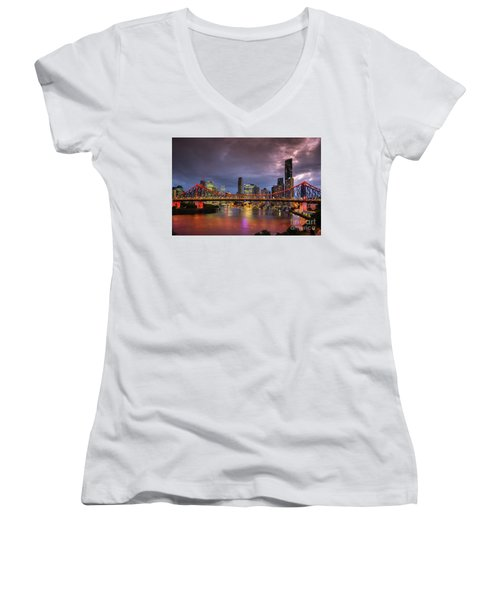 Brisbane City Skyline After Dark Women's V-Neck (Athletic Fit)