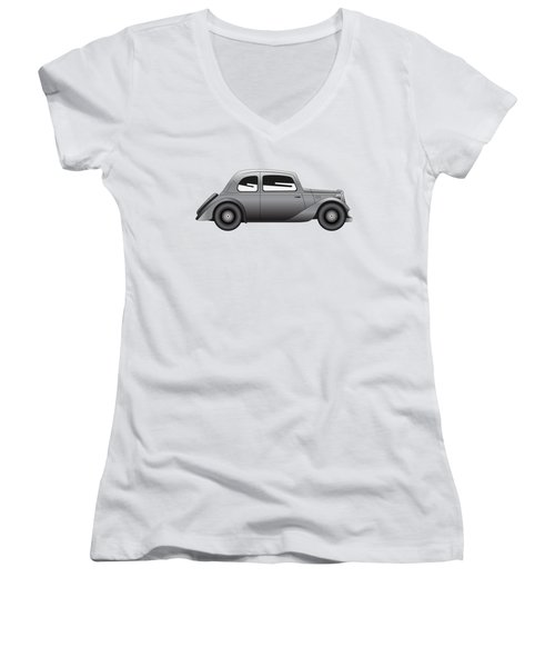 Women's V-Neck T-Shirt (Junior Cut) featuring the digital art Coupe - Vintage Model Of Car by Michal Boubin